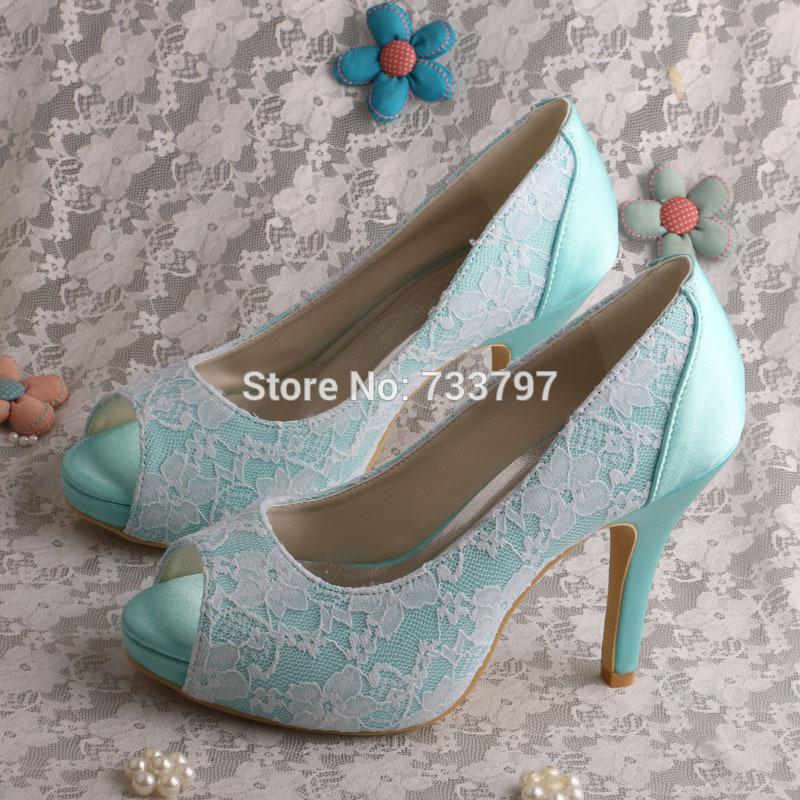 Wedopus Mint Green Platform High Heels Ladies Wedding Shoes Satin and Lace  Dropship