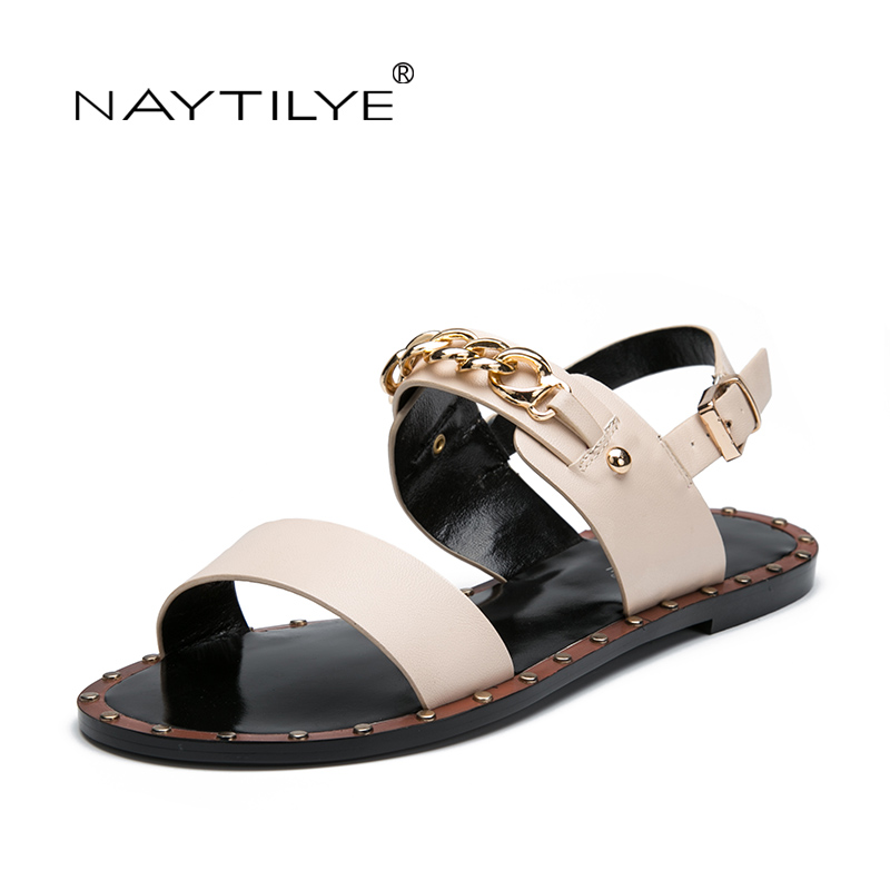 db358d70595b Sandals for woman Summer 2017 New model High quality ECO Leather Fashion Casual  flats shoes 36-41 Free shipping NAYTILYE