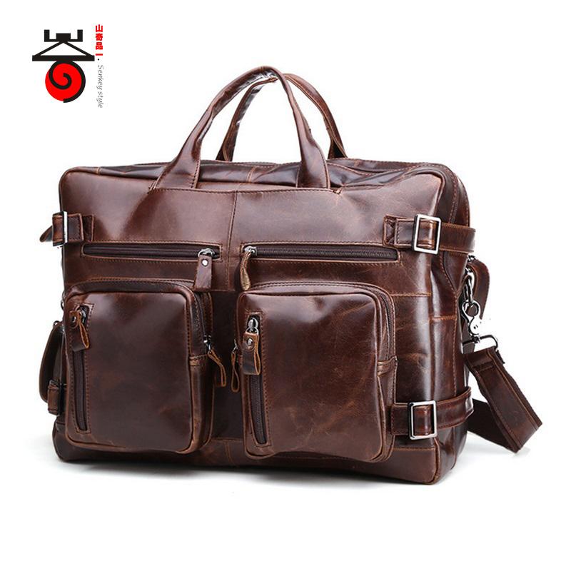 Senkey Style 2017 Genuine Leathe Business Bag Men Travel Backpack 2016 Fashion Doent Real Leather Man Office Designer