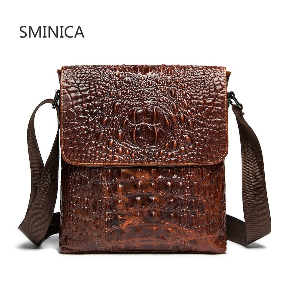 956fde07d47 SMINICA Brand 100% top cowhide genuine leather Male bags slim shoulder bag  Business Travel Ipad Crossbody Bag for men
