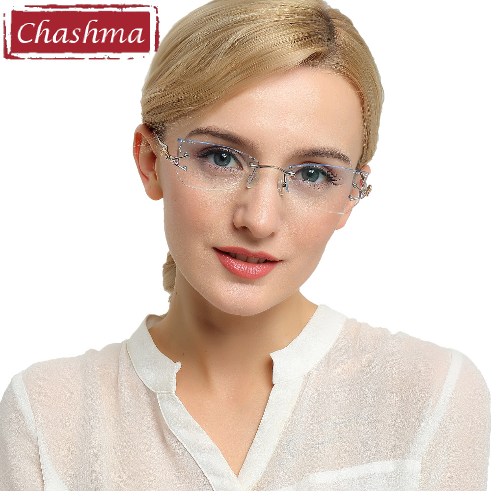 595d945667 Chashma Brand Tint Lenses Sunglasses Titanium Eyewear Female Diamond  Crystal Trimmed Glasses Frame Cat Eye Rimless Glasses Woman