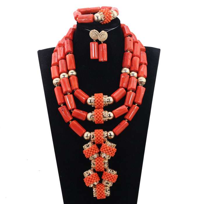 b64b390a80 Luxury African Wedding Bridal Coral Jewelry Sets Women Costume Jewelry Sets  Big Coral Bead Necklace Set Free Shipping CNR801