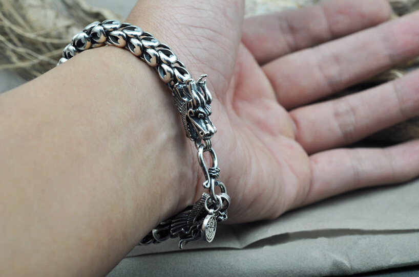 Thai Silver Jewelry 925 Sterling Dragon Bracelet Male Domineering Personality Retro Fashion Chain Link Bracelets