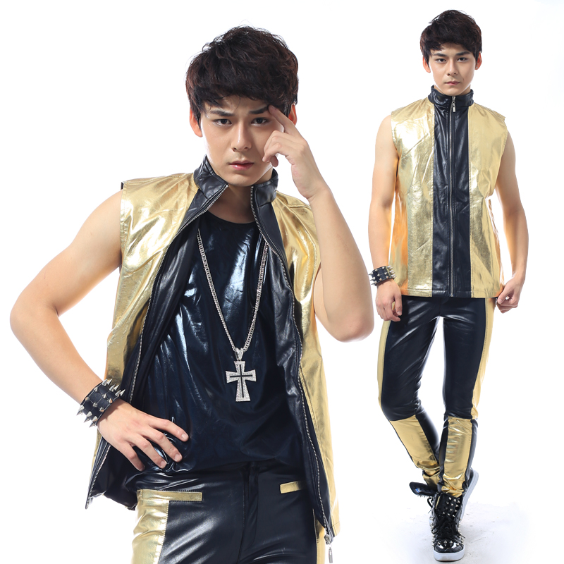 S-5XL!!! 2017 black stitching fashion leisure male singer costumes In  Europe and the British ma3 jia3 su The singer's clothing