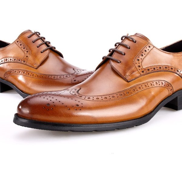 Large Size Eur45 Brown Tan Black Oxfords Shoes Mens Wedding Genuine Leather Pointed Toe Dress