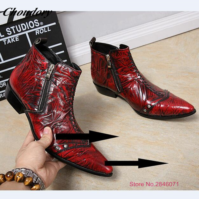 0163077af3b Fashion Italian Designer Formal Boots Men Leather Red Wine Party Wedding  Shoes Military boots Men Flats Office Zapatos Hombre
