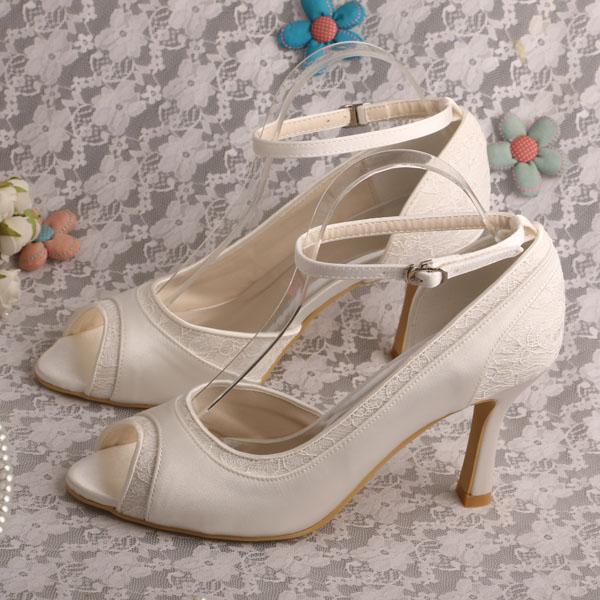c77aa8830dd5 Wedopus Cream Peep Toe Ankle Strap Spool High Heels 3.5 inch Shoes Woman  Fashion Prom Shoes