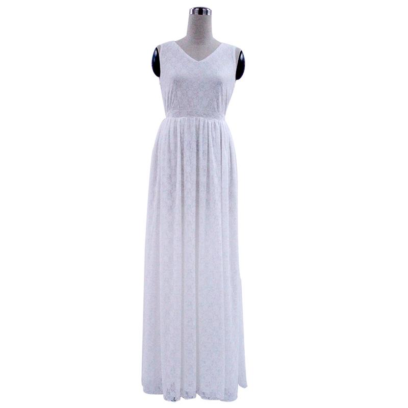 L-9XL Lace Dress Women Plus Size White Long Dresses Summer Dresses V neck  Sexy Sleeveless Maxi Dress Vestidos Robe 5XL Plus Size 5129d34a38fe
