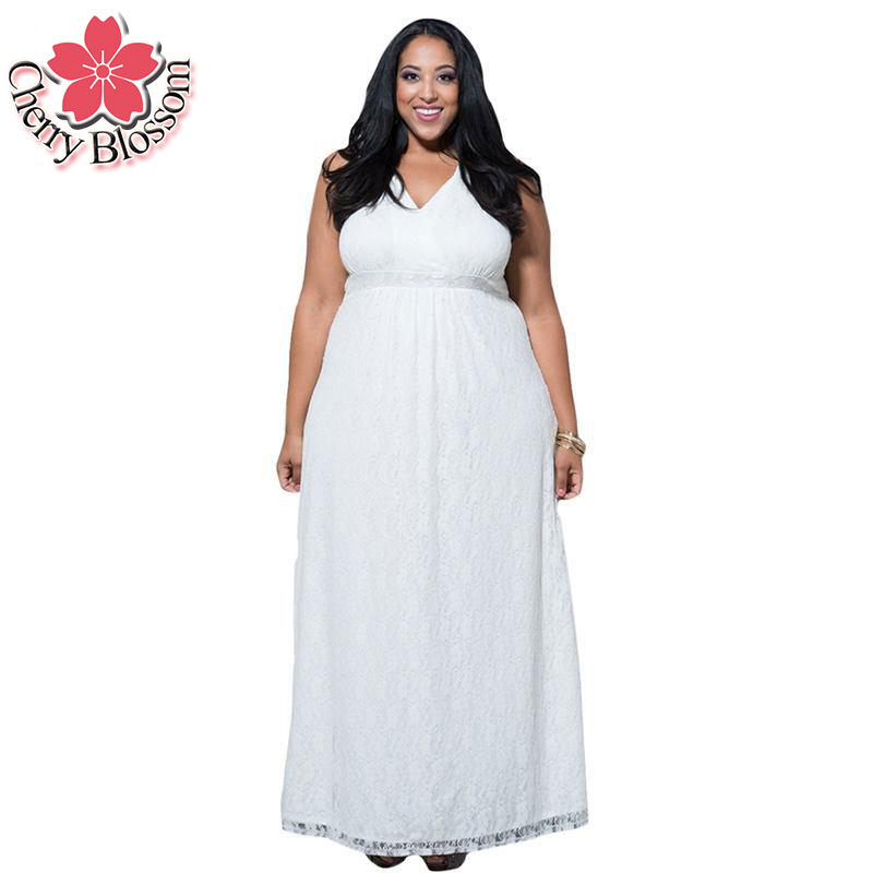 L-9XL Lace Dress Women Plus Size White Long Dresses Summer Dresses V ...