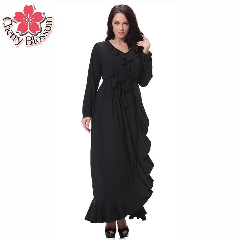 Women Plus Size Dress Full Sleeve Empire Maxi Dress Patchwork