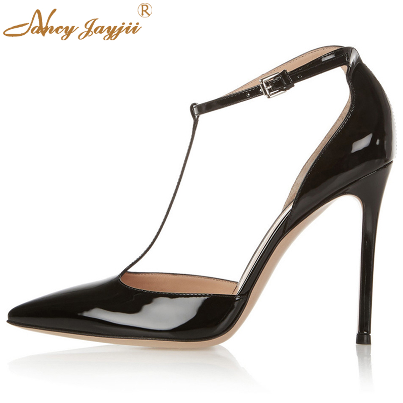 772ae193843 Nancyjayjii 2017 Summer Women Black Pointed Toe T-Strap 10cm High Heels  Pumps Casual Party Dress Shoes Woman