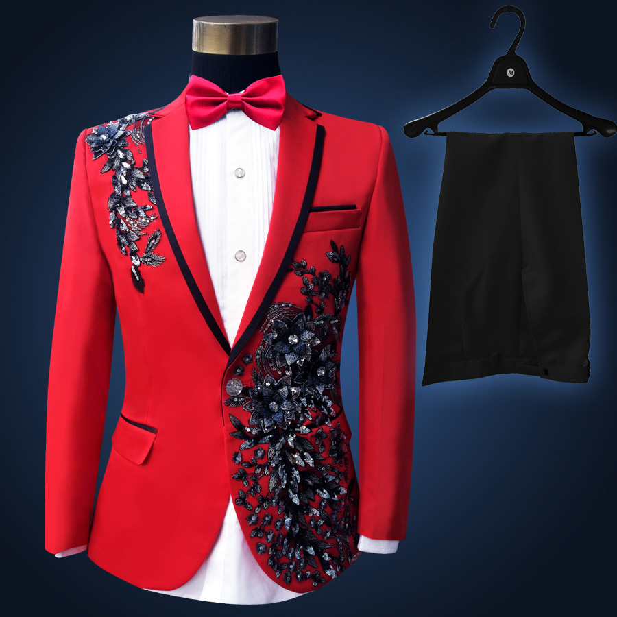 Men Slim Red Wedding Suits Set Pionate Male Singer Host Evening Party Clothing Stage Wear Embroidered Paillette Flower Myfashion