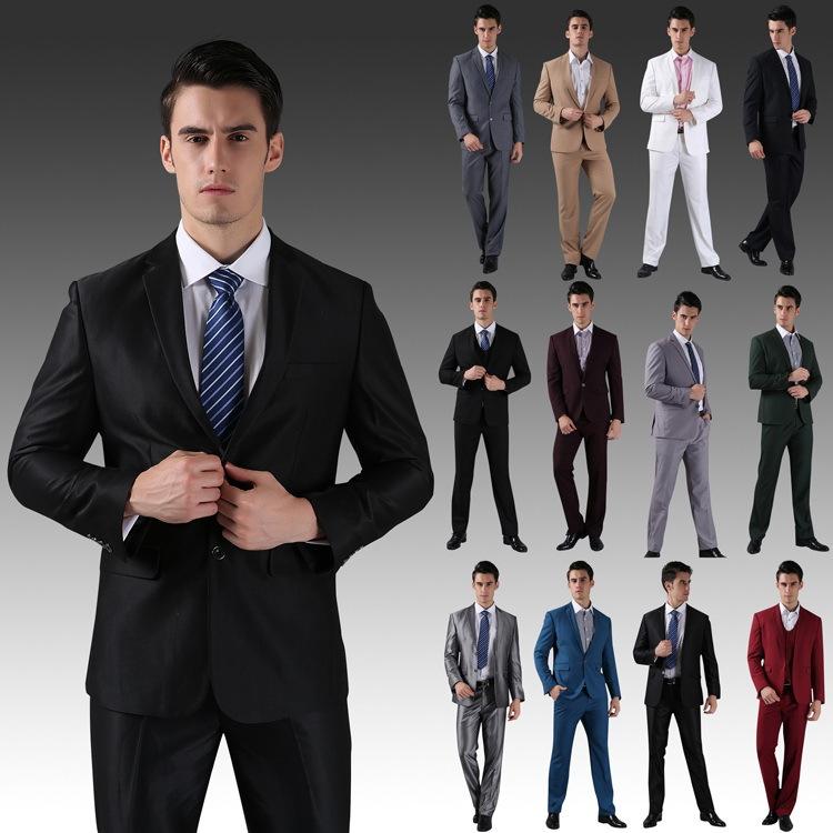 3e9b648796 (Jacket+Vest+Pants+Tie) 2015 New Men Wedding Suits Slim Tuxedo Brand  Fashion Formal Costumes Business Dress Suits Blazer H0285