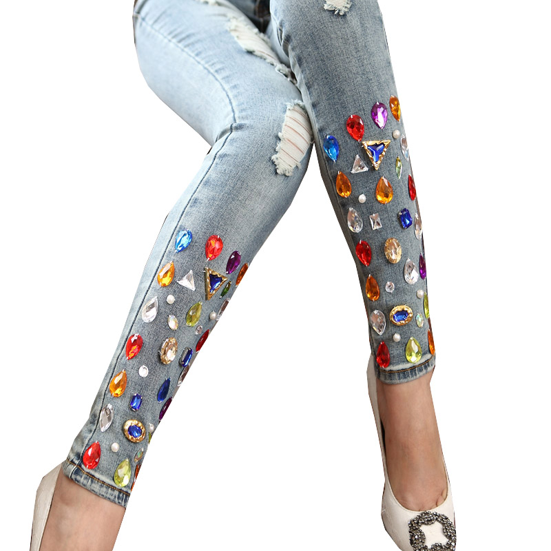 Fashion Retro Women Female Stretch Jean Female Hole Beading Colorful  Diamond American Apparel Jeans Dropshipping AD9762