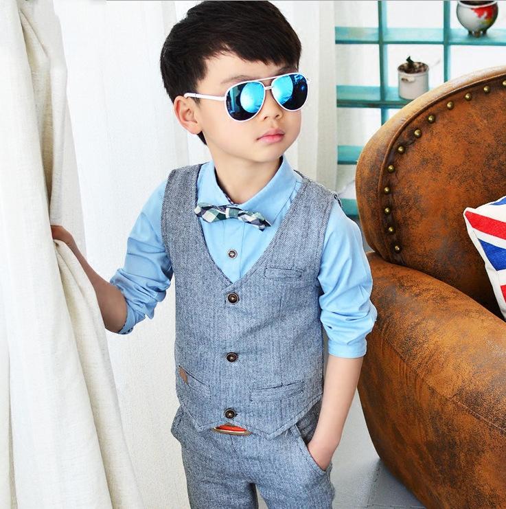 94a7b32c2 Hot Sale Children Suit Kids Waistcoat Formal Birthday Dress Weddings Clothes  Set Baby Boys Suits Shirt Vest Pants 3pcs Suit – MyFashionBuy