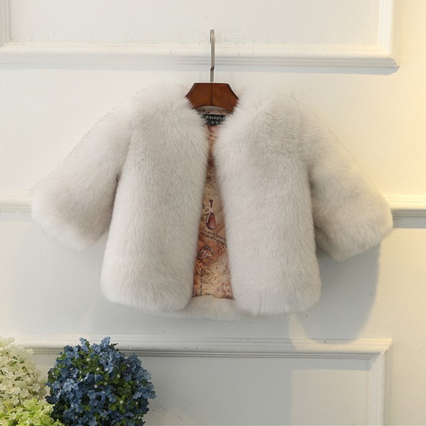 51321bf3e475 High Quality Soft Fur Coat for Baby Girls Solid Faux Fox Fur Coat ...