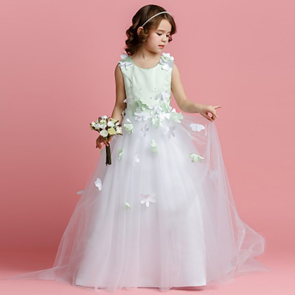 Kids girl wedding dress teenagers Customized fashion dress floral ...