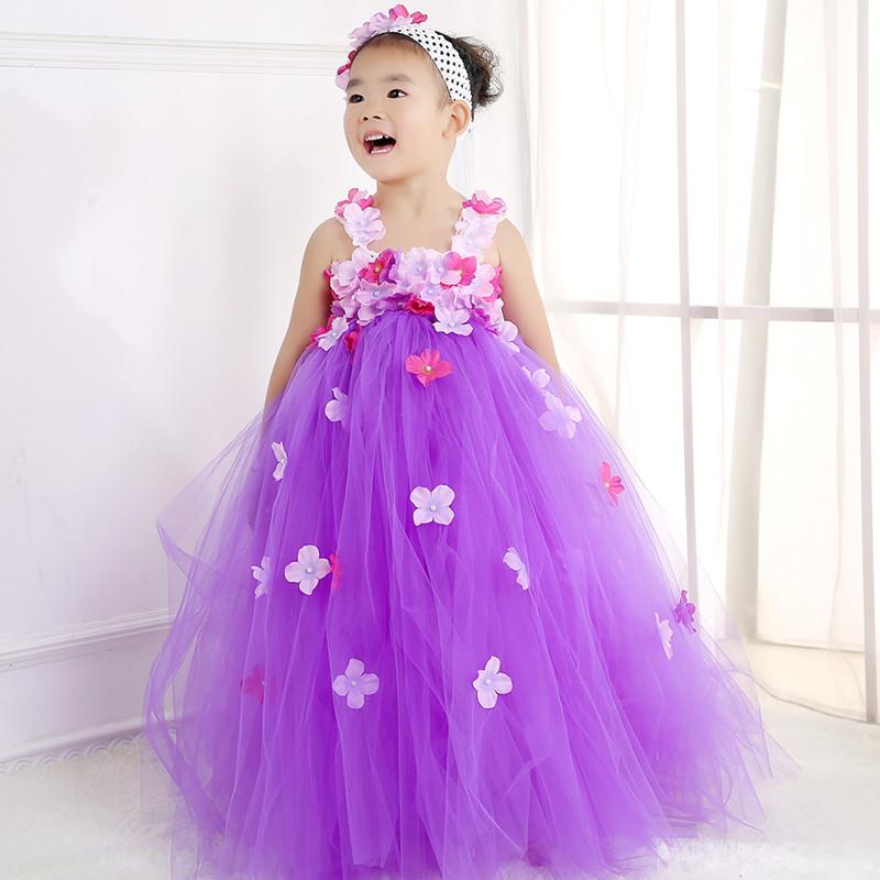Cute Girls Wedding Dress Purple Baby Girl Tutu Dress Princess Tulle ...