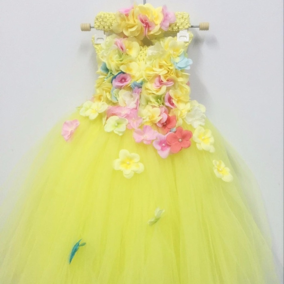 Princess Belle Flower Fairy Tutu Dress S Baby Kids Party Christmas Beauty Beast Cosplay Costume Ball Gown