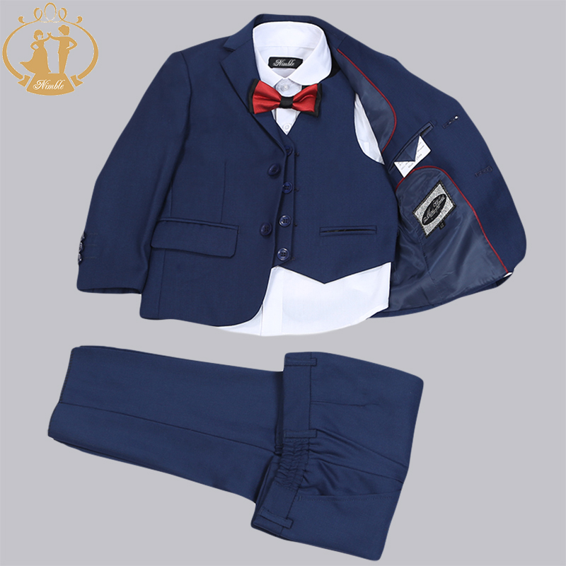 ef4c3234f Nimble Brand Navy Blue Red New Formal Boy Suits for Wedding kids ...