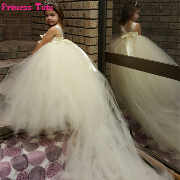 White ivory flower girl dresses long train tail princess tutu dress white ivory flower girl dresses long train tail princess tutu dress kids party wedding dresses for children ball gown vestidos mightylinksfo