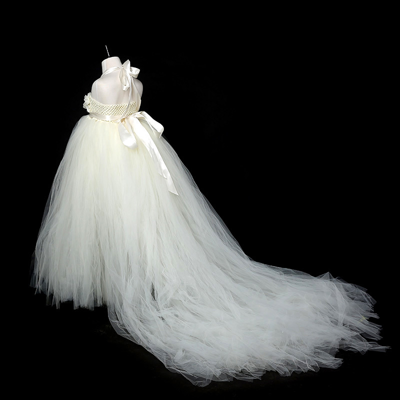 White, Ivory Flower Girl Dresses Long Train Tail Princess Tutu Dress ...
