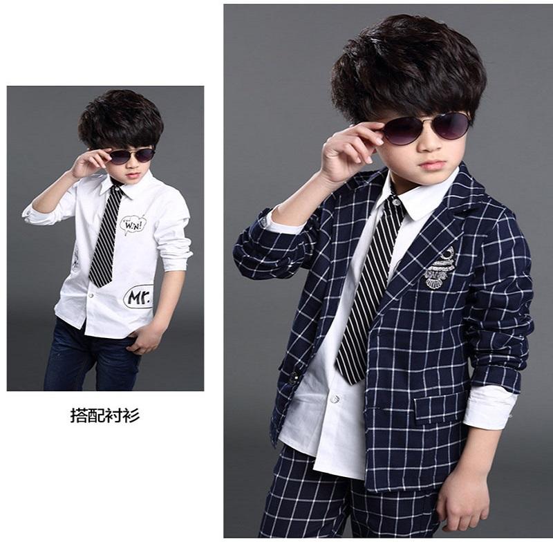 2adbda7c3 teenage 6-14boy clothing set plaid suit for boys school clothes ...