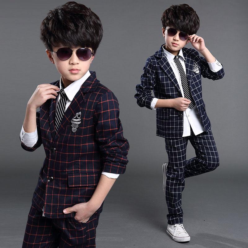 3c69fd86d0063 teenage 6-14boy clothing set plaid suit for boys school clothes children  school uniform kids clothes boys suits set – MyFashionBuy