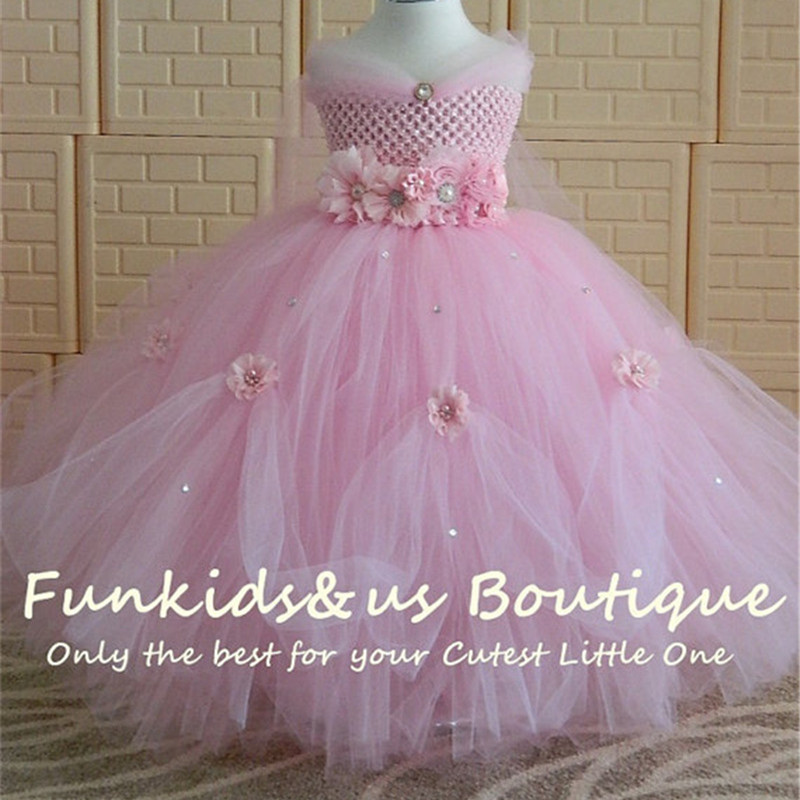 Kids Baby Flower Girls Striped Lace Tulle Tutu Dress Princess Party Wedding Gown