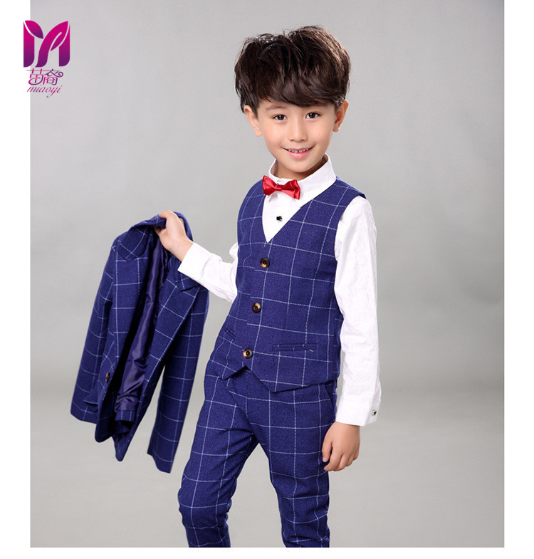 5pcs High Quality 2017 New Fashion Baby Boys Kids Boy Suit For Weddings Prom Formal Silvery Gray Dress Wedding Boy Suits
