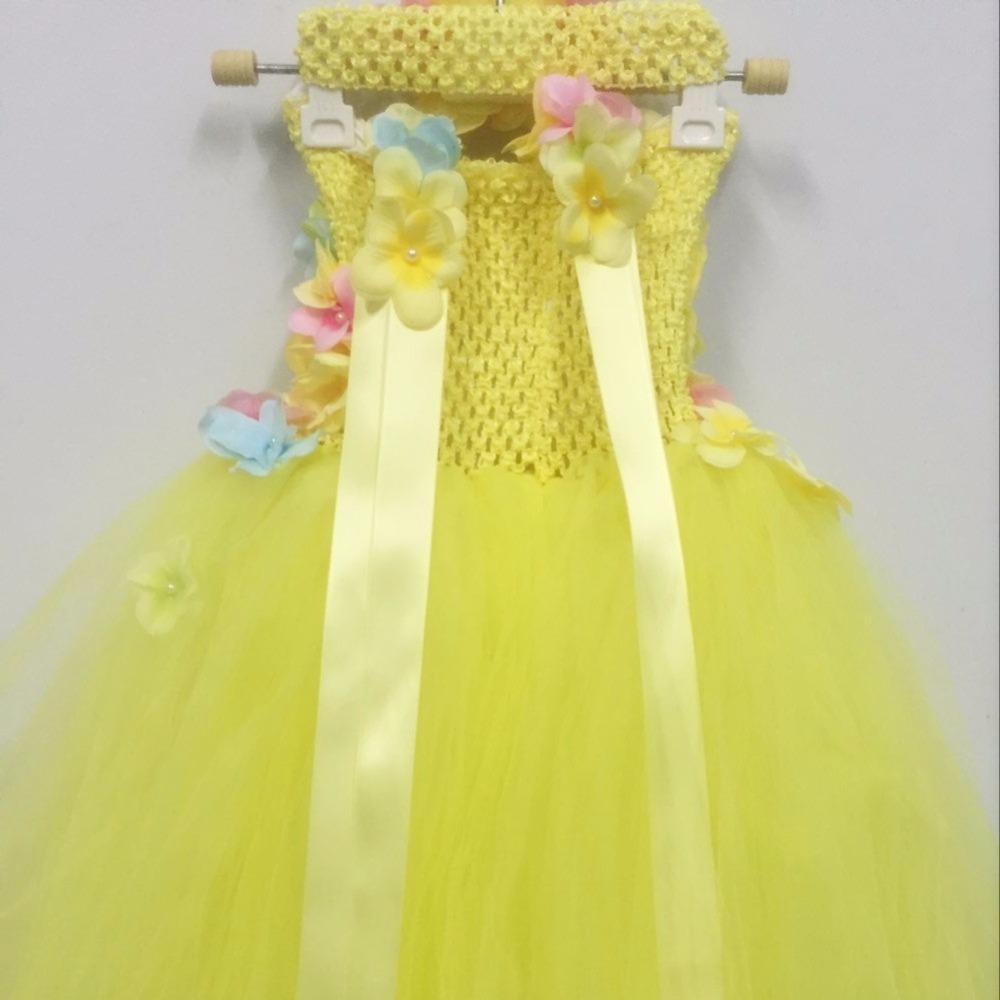 Princess Belle Flower Fairy Tutu Dress Kids Fancy Party Christmas ...