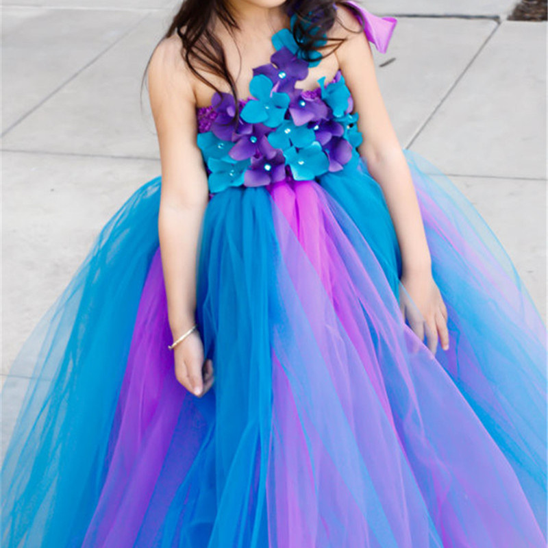 d28148a47423 Hot Sell Pageants Peacock Flower Girl Tutu Dress Kids Sleeveless Party  Birthday Wedding Dress Mesh Tulle Princess Costume 2-14Y – MyFashionBuy