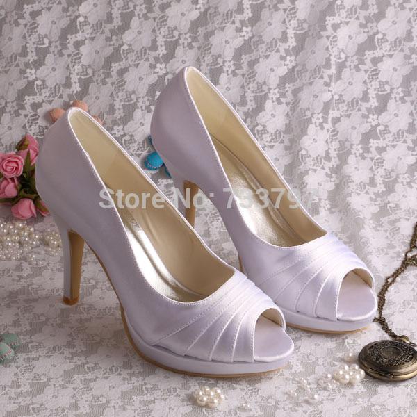 6affcc8d5538 Wedopus Graceful Bridal Dress Purple Satin Heels Platform Ladies Shoes Peep  Toe Dropship